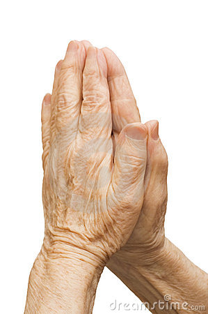 Old female hands pray