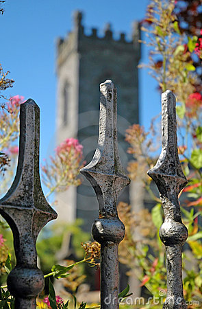 Old fence in front of old irish church