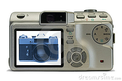 Old film camera on display of modern digital camera