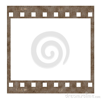 Old film strip frame isolated on white