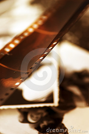 Old film strip and photos background
