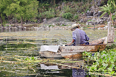 Old fisherman in Lake Atitlan, Guatemala Editorial Stock Image