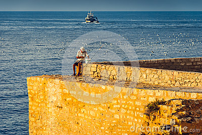 Old Fisherman on the Sea