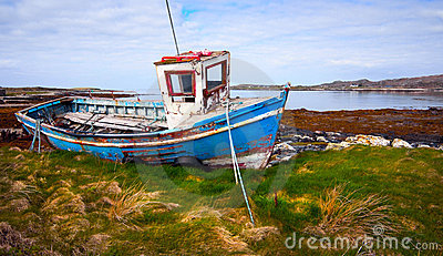 Old Fishing Boat On The Bank Of Ocean Bay Royalty Free Stock Images ...