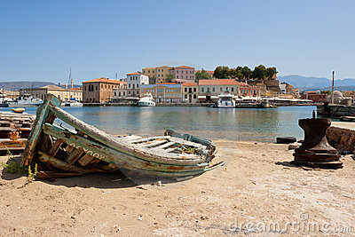 Old fishing boat. Chania, Crete, Greece