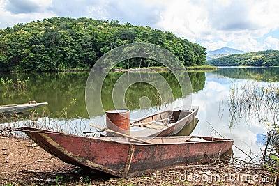 Old Fishing Boat On Lake Shore Stock Photo Image 48869782