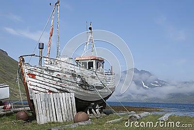 Old fishing boat in Strandir, Iceland