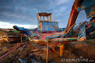 Old Fishing Boat Wreck, HDR Image