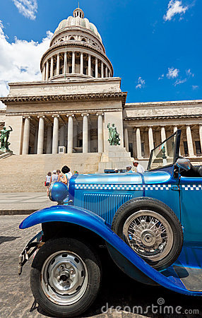 Old Ford in front of the Capitol  in Havana Editorial Photo