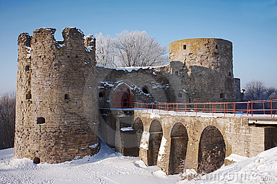Old fortress in the winter sunny day
