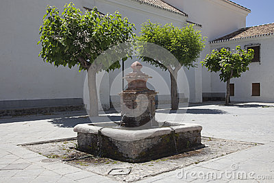 Old fountain on marketplace