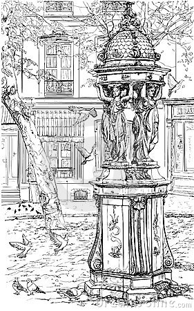 Old fountain in Montmartre - Paris
