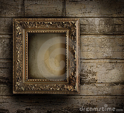 Free Old Frame Against A Painted Wall Royalty Free Stock Photos - 16025448