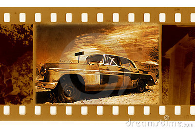 Old frame photo with retro car