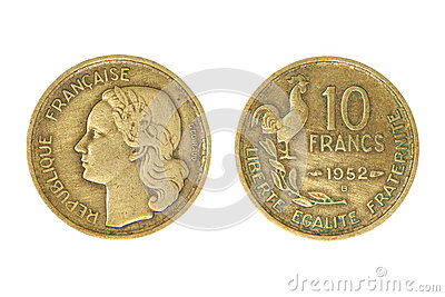 Old french monetary unit franc.