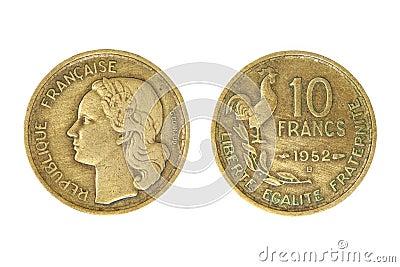 Old french monetary unit franc.