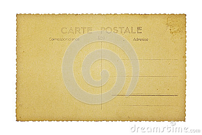 Old french postcard, isolated on white