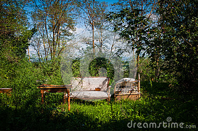 Old furniture abandoned in bucolic landscape