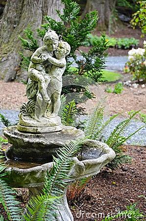 Old garden birdbath