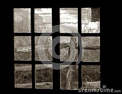 Old Garden view through an Old Window