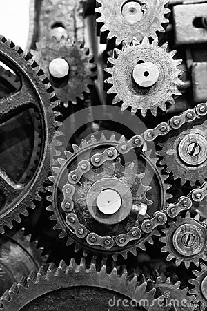 Free Old Gears And Cogs Of Engine Mechanism Stock Images - 94675214