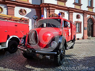 Old german fire brigade car - Magirus Deutz Editorial Photography