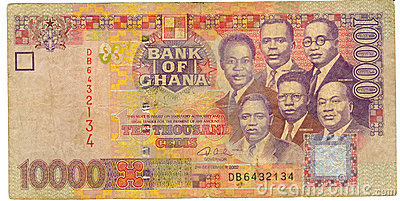 Old Ghana paper currency