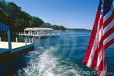 old glory Flag and boat wake