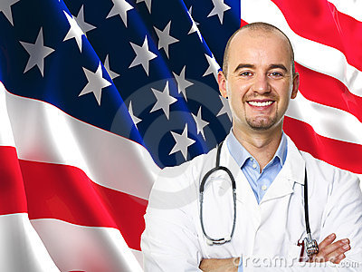 Old glory flag and doctor
