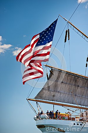 Free Old Glory Flies On American Tall Ship Eagle Stock Image - 24641911