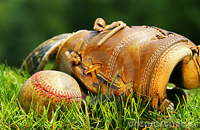 Old glove and baseball