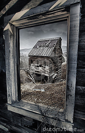 Old gold mine in Colorado, view out of the window