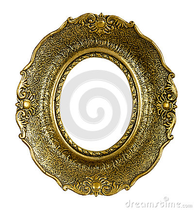 Free Old Gold Vintage Picture Frame Isolated On White Stock Images - 36627854