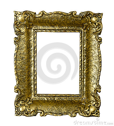 Old gold vintage picture frame isolated on white