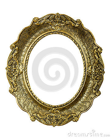 Old gold vintage picture frame on white