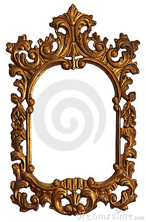 Free Old Gold Wood Mirror Frame With Ornaments Stock Photography - 6656702