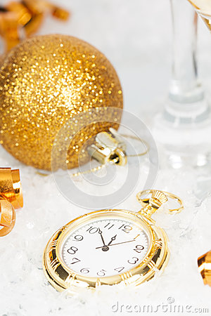 Free Old Golden Clock Close To Midnight And Christmas Decorations Stock Photo - 47703100