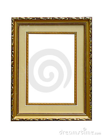 Old golden empty picture frame isolated