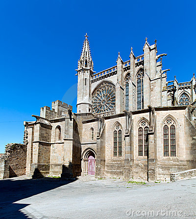 Old gothic cathedral in Carcassonne, France