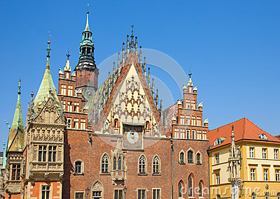 City hall  facade,  Wroclaw, Poland
