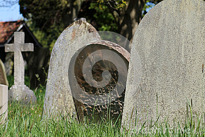 Old graves in English cemetery