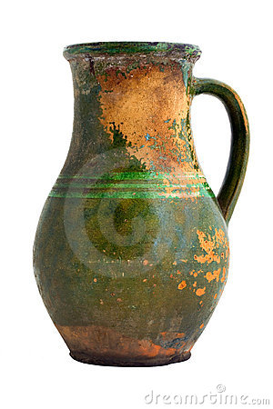 Old green clay jar