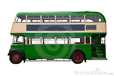 Old Green double decker bus