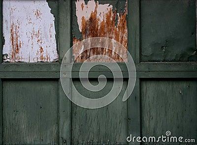 Old green garage door