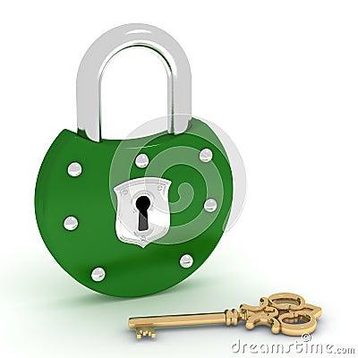 Old green padlock and gold key