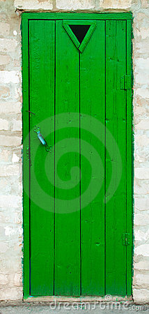 Old green wood door