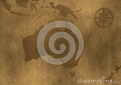 Old grunge Australia map illustration