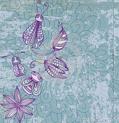 Old grunge background with cute insects