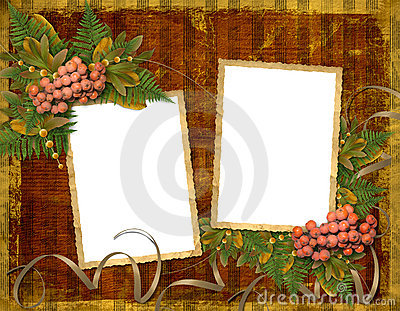 Old grunge card with autumn leaves