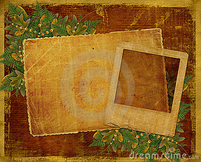 Old grunge card with autumn leaves.